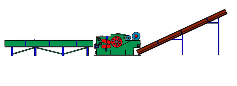 drum wood chipper with input and output conveyor